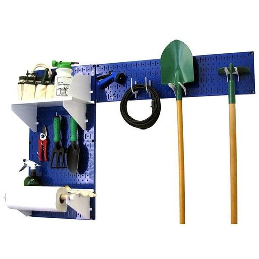 View a Larger Image of Pegboard Garden Tool Board Organizer with Blue Pegboard and White Accessories