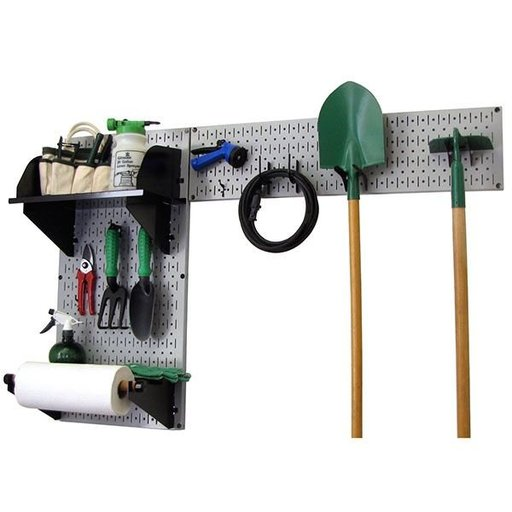 View a Larger Image of Pegboard Garden Tool Board Organizer with Gray Pegboard and Black Accessories