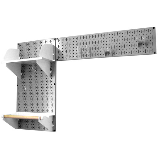 View a Larger Image of Pegboard Garden Tool Board Organizer with Gray Pegboard and White Accessories