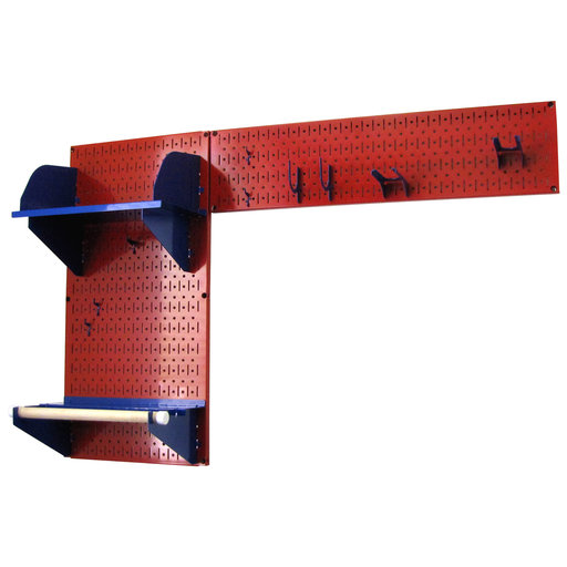 View a Larger Image of Pegboard Garden Tool Board Organizer with Red Pegboard and Blue Accessories