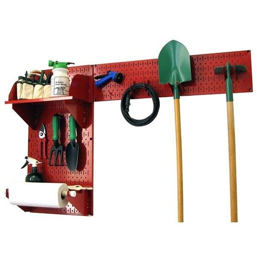 View a Larger Image of Pegboard Garden Tool Board Organizer with Red Pegboard and Red Accessories