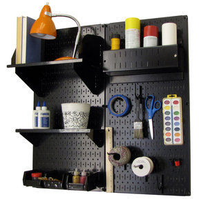 Pegboard Hobby Craft Pegboard Organizer Storage Kit with Black Pegboard and Black Accessories