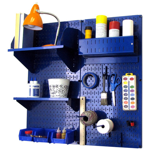 View a Larger Image of Pegboard Hobby Craft Pegboard Organizer Storage Kit with Blue Pegboard and Blue Accessories