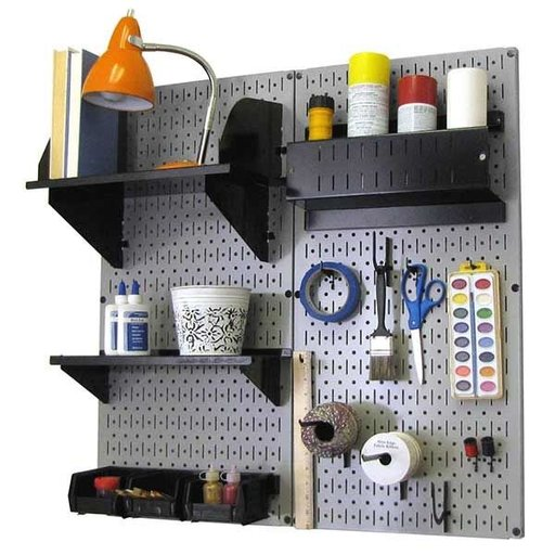 View a Larger Image of Pegboard Hobby Craft Pegboard Organizer Storage Kit with Gray Pegboard and Black Accessories