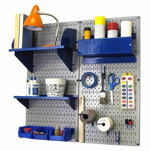 View a Larger Image of Pegboard Hobby Craft Pegboard Organizer Storage Kit with Gray Pegboard and Blue Accessories