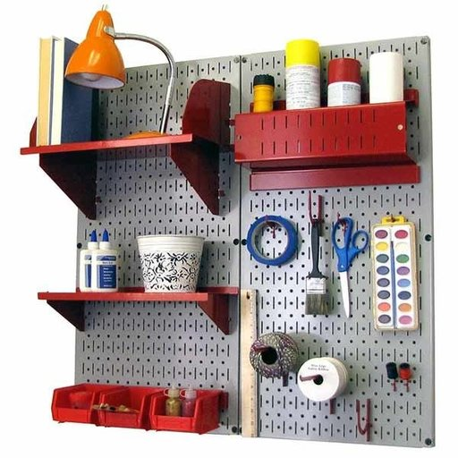 View a Larger Image of Pegboard Hobby Craft Pegboard Organizer Storage Kit with Gray Pegboard and Red Accessories