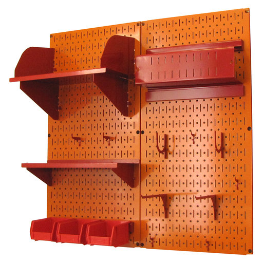View a Larger Image of Pegboard Hobby Craft Pegboard Organizer Storage Kit with Orange Pegboard and Red Accessories