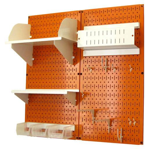 View a Larger Image of Pegboard Hobby Craft Pegboard Organizer Storage Kit with Orange Pegboard and White Accessories