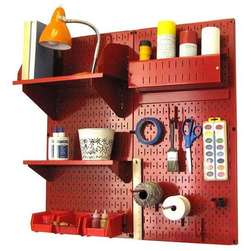 View a Larger Image of Pegboard Hobby Craft Pegboard Organizer Storage Kit with Red Pegboard and Red Accessories