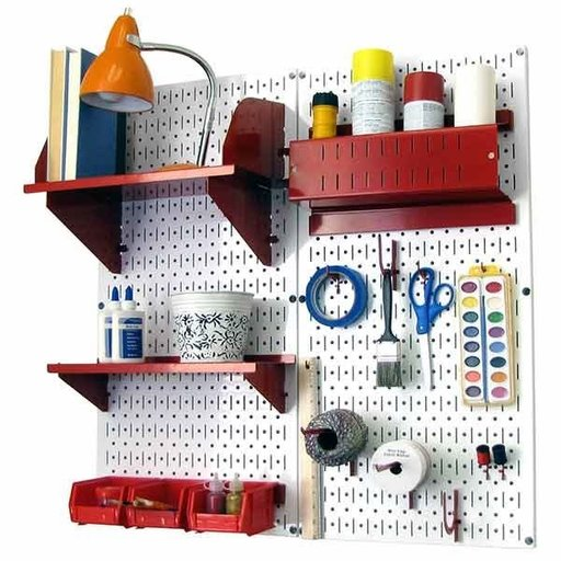 View a Larger Image of Pegboard Hobby Craft Pegboard Organizer Storage Kit with White Pegboard and Red Accessories