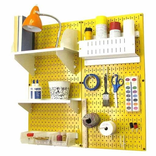 View a Larger Image of Pegboard Hobby Craft Pegboard Organizer Storage Kit with Yellow Pegboard and White Accessories