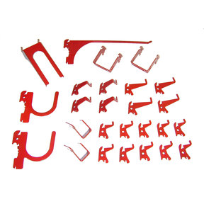 Slotted Metal Pegboard Hook Kit - Red Toolboard Hooks