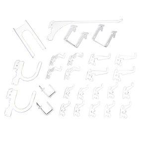 Slotted Metal Pegboard Hook Kit - White Toolboard Hooks
