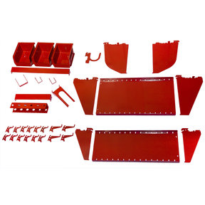 Slotted Tool Board Workstation Accessory Kit for Wall Control Pegboard, Red