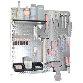 Steel Pegboard, Galvanized Utility Tool Storage Kit with Black Accessories