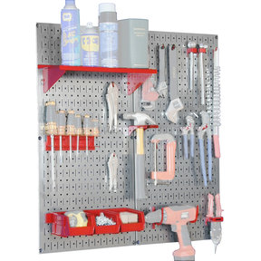 Steel Pegboard, Galvanized Utility Tool Storage Kit with Red Accessories