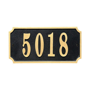 Waterford Rectangle Cast Aluminum Black with Gold Border Address Plaque