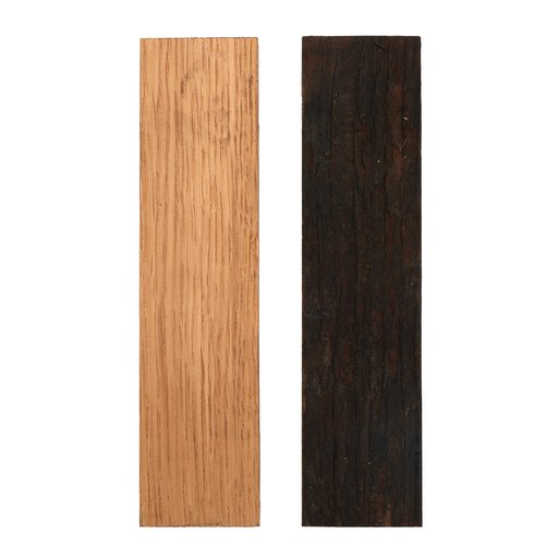 """View a Larger Image of Whiskey Wood Black and Tannin 3/8"""" x 1-1/2"""" x 5"""" Bourbon Whiskey Barrel Staves Knife Scale 2-piece"""