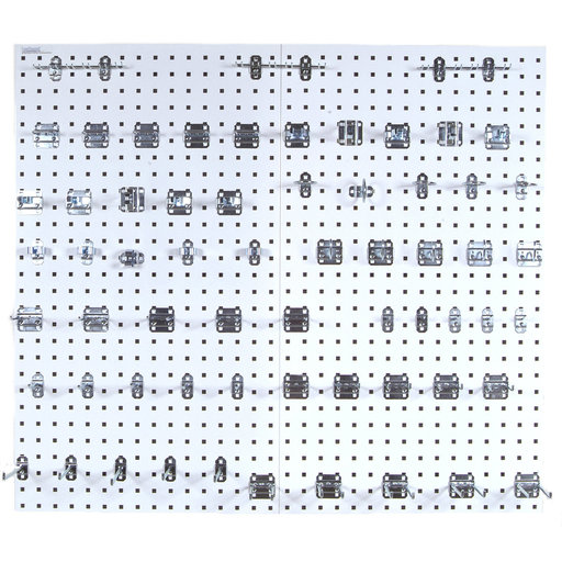 View a Larger Image of White Epoxy 18 Gauge Steel Square Hole Pegboards w/63 pc. LocHook Assortment
