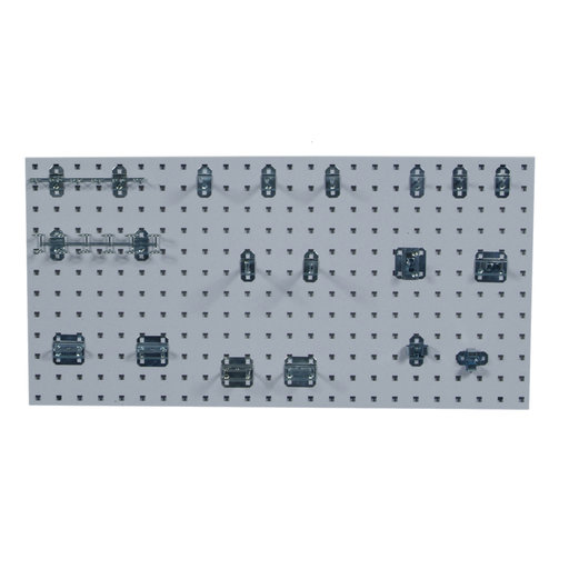 View a Larger Image of White Epoxy, 18 Gauge Steel Square Hole Pegboards with 18 pc LocHook Assortment