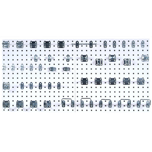 View a Larger Image of White Epoxy, 18 Gauge Steel Square Hole Pegboards with 46 pc LocHook Assortment