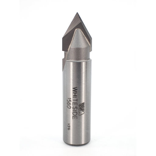 """View a Larger Image of 1560 V Groove Router Bit 60 Included Angle 1/2"""" SH 1/2"""" D X 7/16"""" P X 2-1/4"""" OL"""