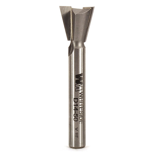 """View a Larger Image of D14-50 Dovetail Router Bit 14 Degree 1/4"""" SH 1/2"""" D x 1/2"""" C x 2"""" OL"""