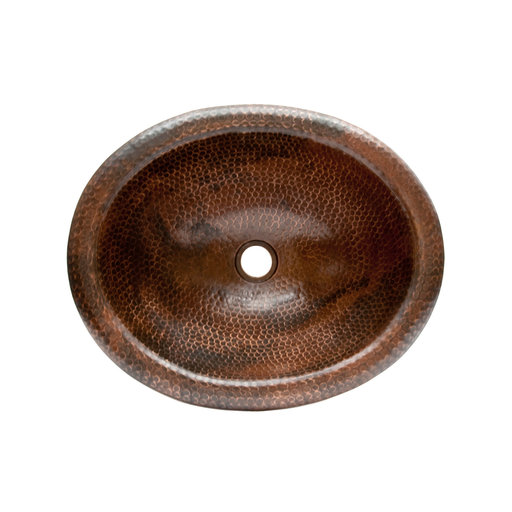 View a Larger Image of Wide Rim Oval Self Rimming Hammered Copper Sink