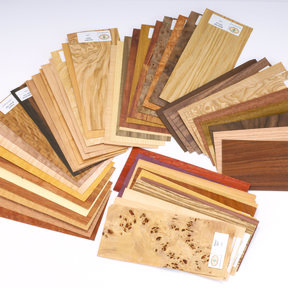 """Wood Identification Kit and Wood Veneer Sample Pack - Domestic and Exotic Species - 4"""" x 9"""" - 50 Piece"""