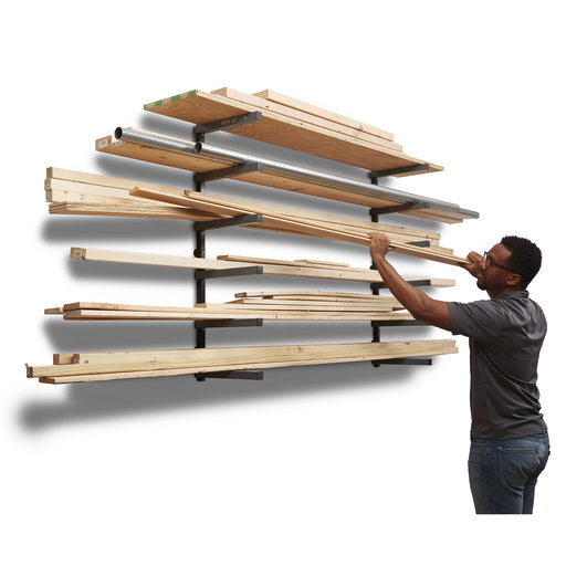 View a Larger Image of Wood Rack 6 Tier - Gray/Black