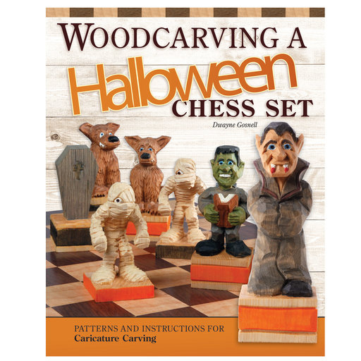 View a Larger Image of Woodcarving a Halloween Chess Set