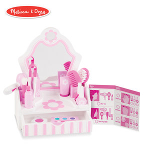 """Wooden Beauty Salon Play Set, Role Play, Vanity & Accessories, 18 Pieces, 15.5"""" H x 12"""" W x 6"""" L"""