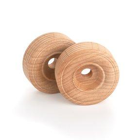 """Wooden Single Truck Wheels, 2"""" Dia., 3/4"""" W, 3/8"""" Axle Hole 2-piece"""