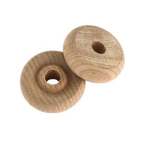 """Wooden Toy Wheels - 1"""" Diameter - 3/8"""" W - 1/4"""" Axle Hole - 6 Piece"""