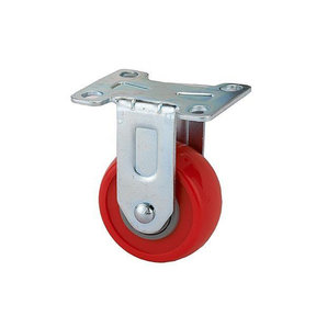 """2-1/2"""" Caster Non-Locking Non-Swiveling with 4 Hole Mounting Plate 3-3/8"""" Tall"""