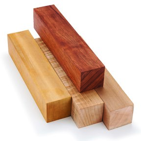 """Woodturner's Color Pack - Assorted Wood Turning Stock - 2"""" x 2"""" x 10"""" - 4 Piece"""