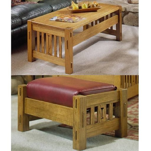 View a Larger Image of Woodworking Project Paper Plan to Build Arts and Crafts Coffee Table and Ottoman