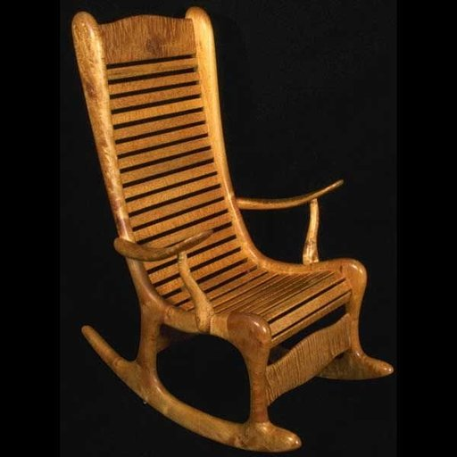 View a Larger Image of Woodworking Project Paper Plan to Build Curley Maple Rocking Chair, AFD120