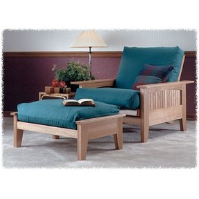 Woodworking Project Paper Plan to Build Futon Chair & Ottoman