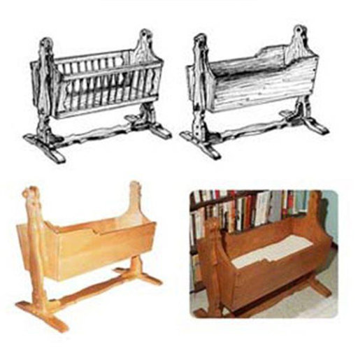 View a Larger Image of Woodworking Project Paper Plan to Build Mission American Baby Cradle