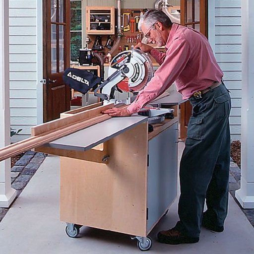 View a Larger Image of Woodworking Project Paper Plan to Build Mobile Mitersaw Center