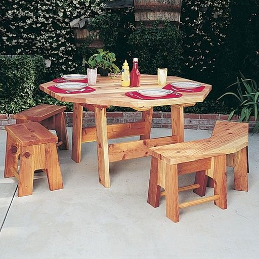 View a Larger Image of Woodworking Project Paper Plan to Build Octagon Table Set, Plan No. 840