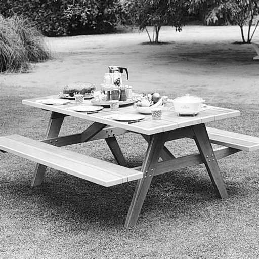 View a Larger Image of Woodworking Project Paper Plan to Build Picnic Table & Benches, Plan No. 312