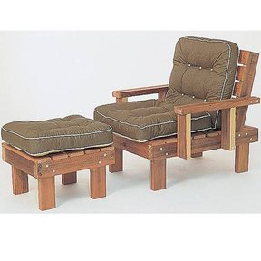 Woodworking Project Paper Plan to Build Redwood Chair & Ottoman, Plan No. 640