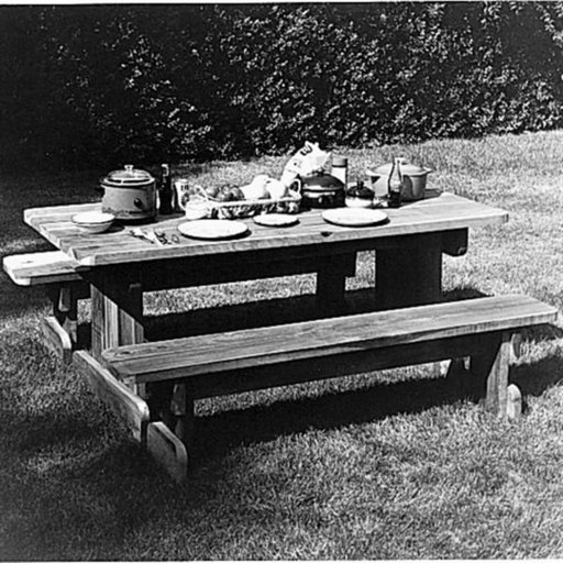 View a Larger Image of Woodworking Project Paper Plan to Build Redwood Picnic Table, Plan No. 669