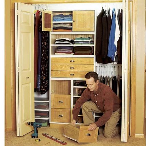 View a Larger Image of Woodworking Project Paper Plan to Build Super-Flexible Closet Storage System
