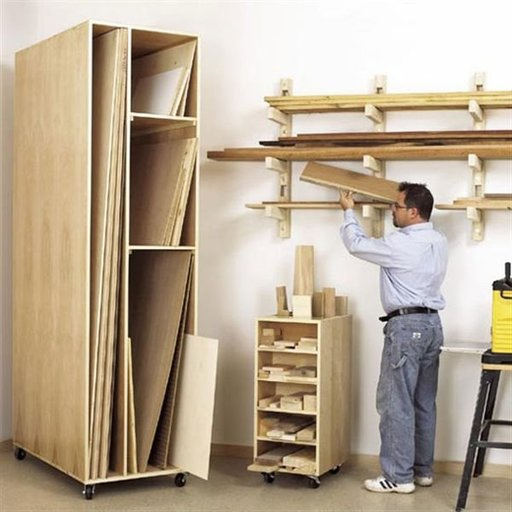 View a Larger Image of Woodworking Project Paper Plan to Build Triple-Threat Storage for Lumber, Scraps and Sheet Goods