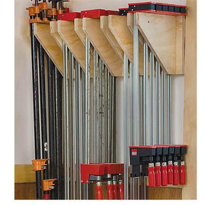 Woodworking Project Paper Plan to Build Wall-Mounted Clamp Rack