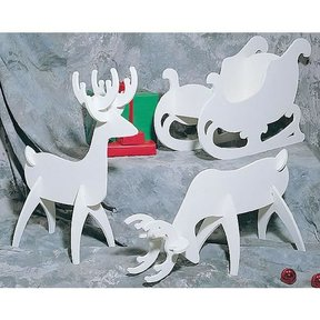 Woodworking Project Paper Plan to Build White Reindeer & Sleigh, Plan No. C122