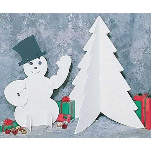 View a Larger Image of Woodworking Project Paper Plan to Build White Snowman & Tree, Plan No. C133